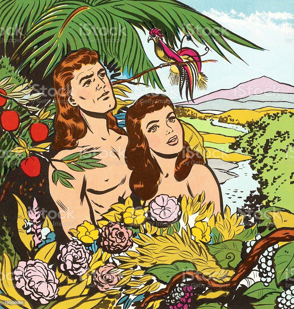 アダムとイヴの庭園 2人のベクターアート素材や画像を多数ご用意