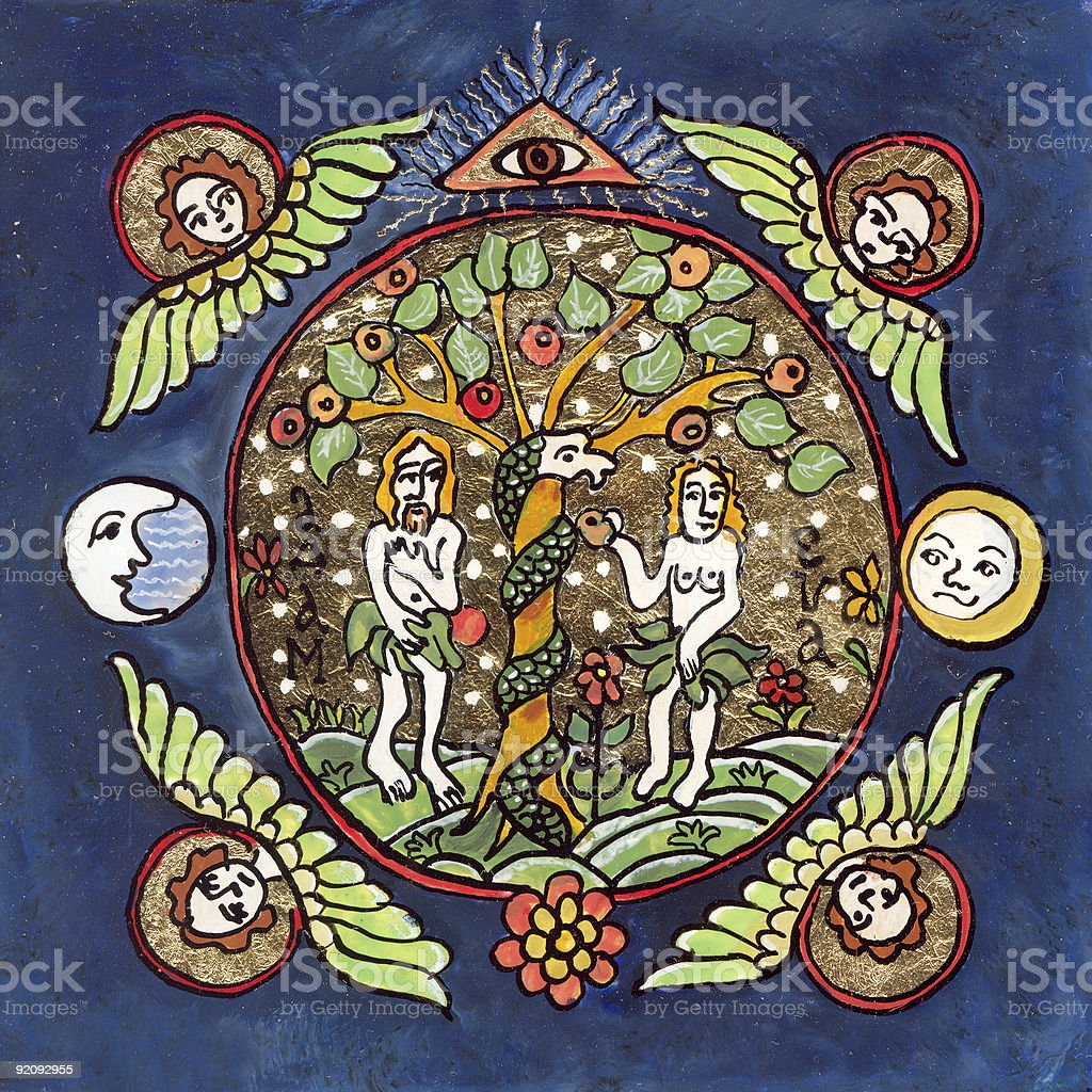 Adam and Eve naive traditional painting on glass vector art illustration