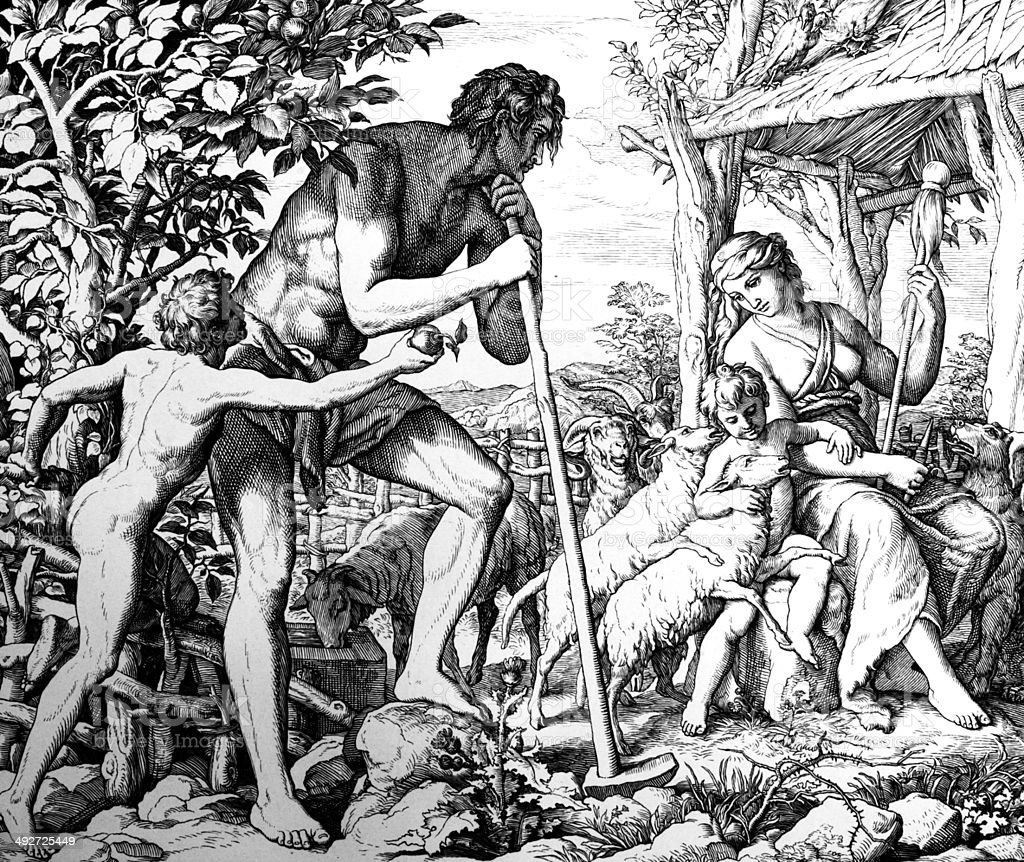 Adam and Eve with Cain and Abel vector art illustration