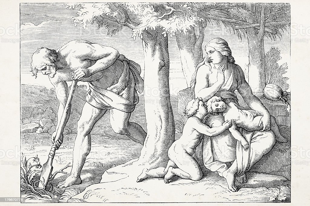 Adam working Eve with her children Cain and Abel royalty-free adam working eve with her children cain and abel stock vector art & more images of 19th century