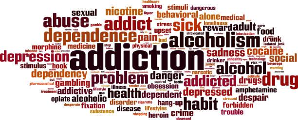 stockillustraties, clipart, cartoons en iconen met verslaving woordwolk - amfetamine