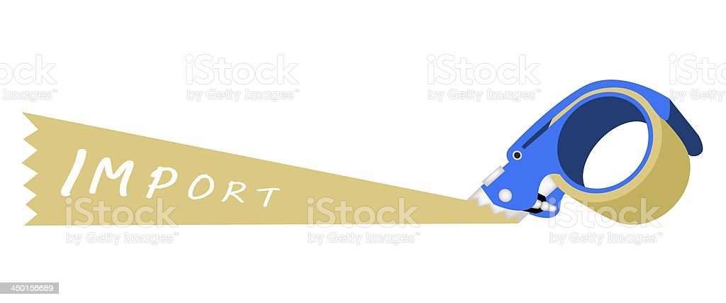 Adhesive Tape Dispenser With A Word Import royalty-free stock vector art