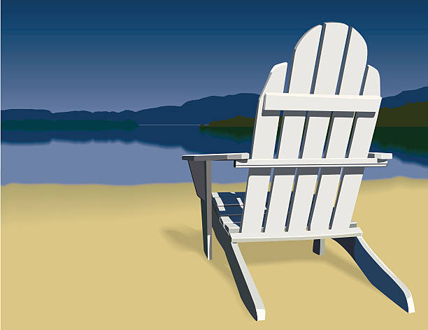 Adirondack Chair Scene Beautiful lakeside scene of an adirondack chair on a beach. Mountains can be seen in the distance. Grab a cold drink and relax. adirondack chair stock illustrations