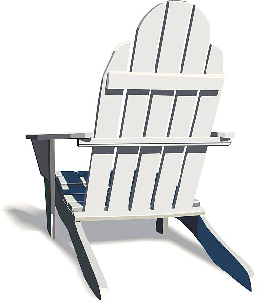 Adirondack Chair with soft shadow Classic Adirondack chair made of white painted wood. Soft shadow supplied on separate layer. Think summer. adirondack chair stock illustrations