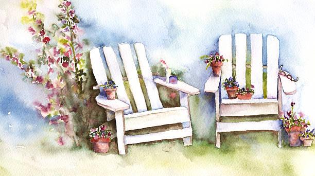 Adirondack Chairs with Hollyhocks  adirondack chair stock illustrations