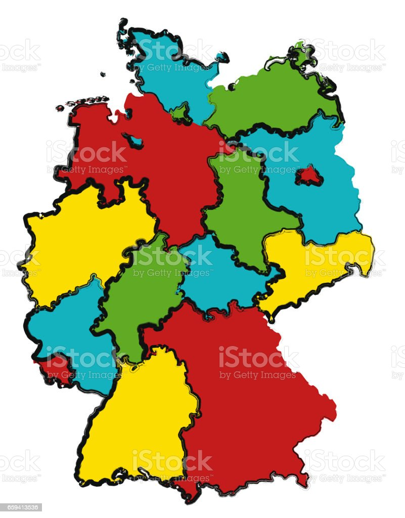 Map Of Germany With Regions.Administration Map Of Germany With 3d Regions Stock Vector Art