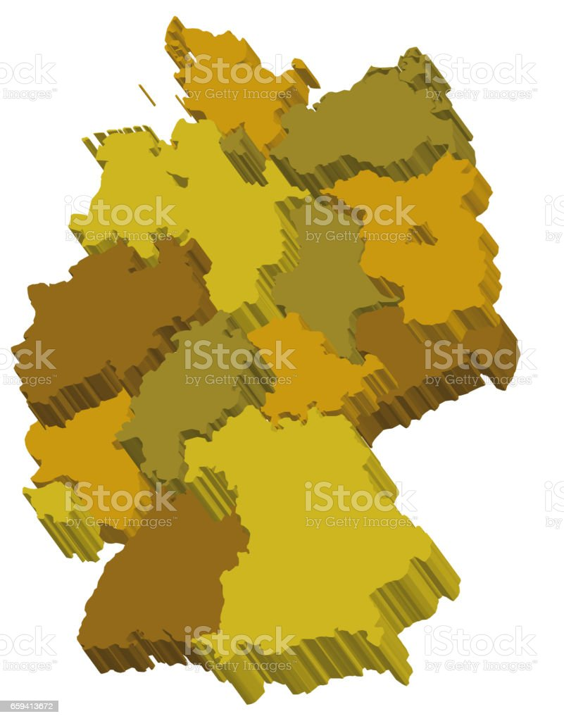 Map Of Germany 3d.Administration Map Of Germany With 3d Regions Stock Vector Art