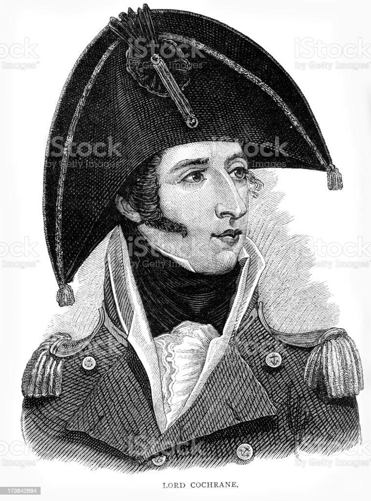Admiral Thomas Cochrane Royal Navy vector art illustration