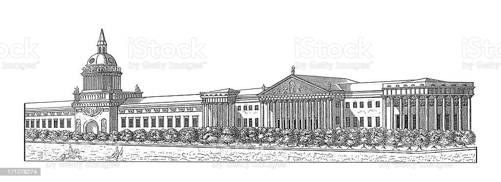 Admiralty Building, St. Petersburg, Russia | Antique Architectural Illustrations royalty-free stock vector art