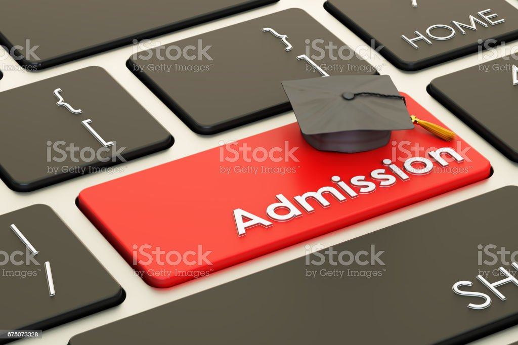 Admission concept on keyboard button, 3D rendering vector art illustration