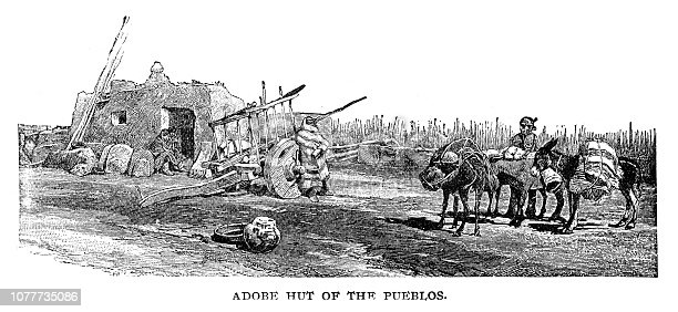 Adobe Hut of the Pueblos - Scanned 1890 Engraving