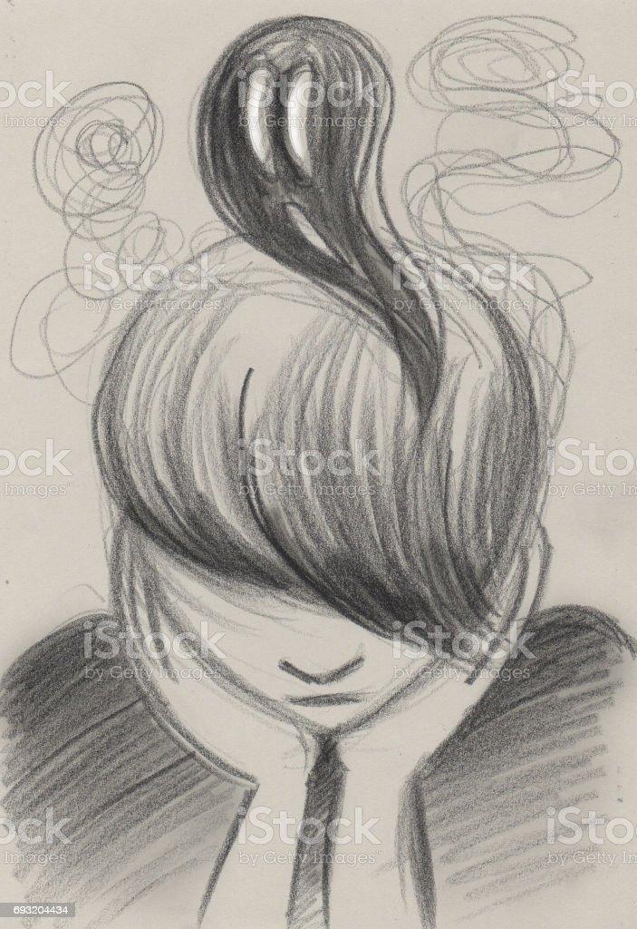 Adolescence depression concept illustration vector art illustration