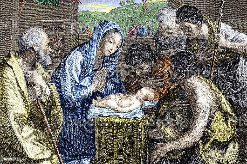 Adoration of the Shepherds -  Nativity royalty-free stock vector art