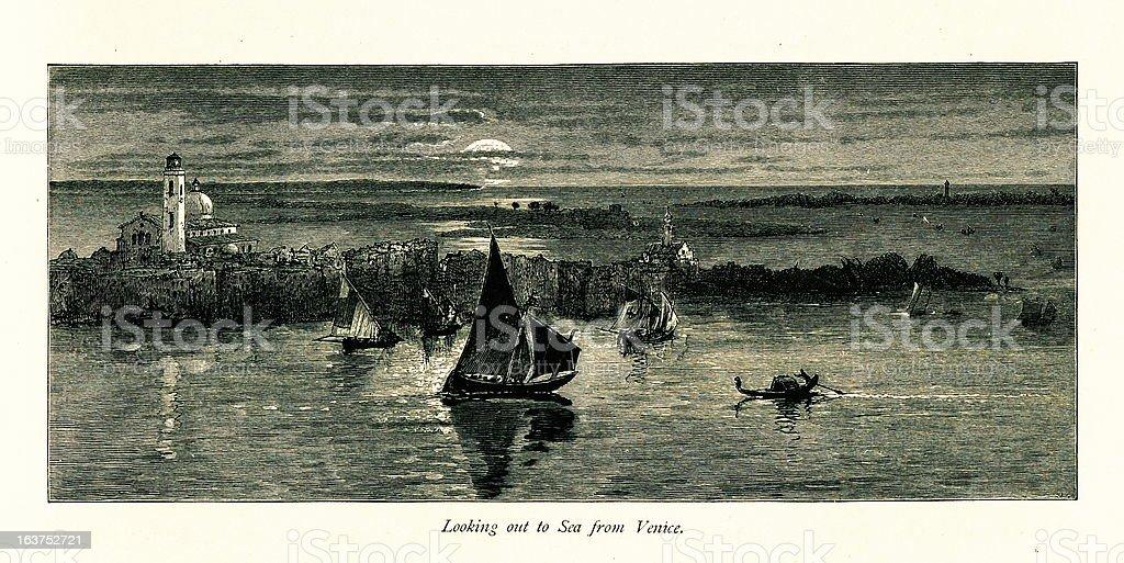 Adriatic Sea, Venice, Italy I Antique European Illustrations vector art illustration
