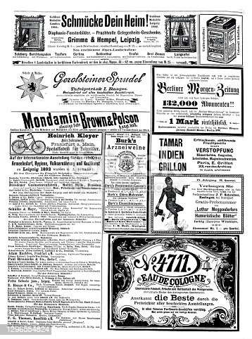 istock Ads from 1892 in a German magazine, incl. 4711 Eau de Cologne 1296554824