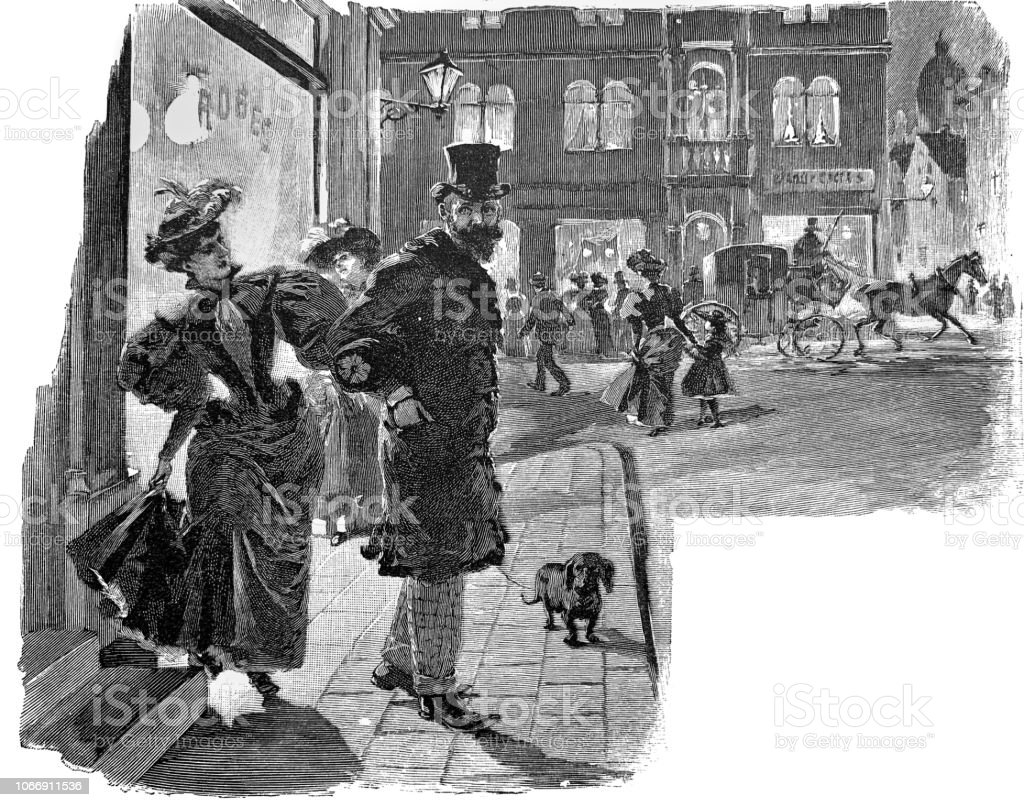 Adult couple on the city street - 1896 royalty-free adult couple on the city