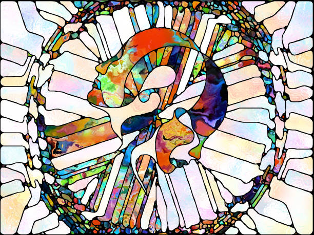 Advance of Stained Glass vector art illustration
