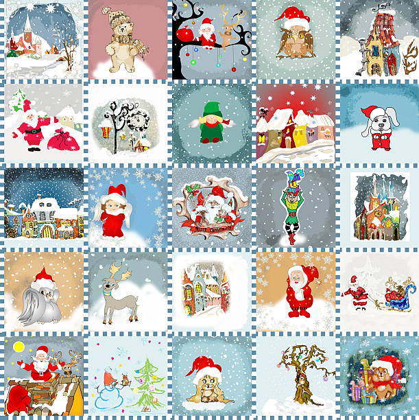 advent calendar cards  seamless pattern - birds calendar stock illustrations, clip art, cartoons, & icons