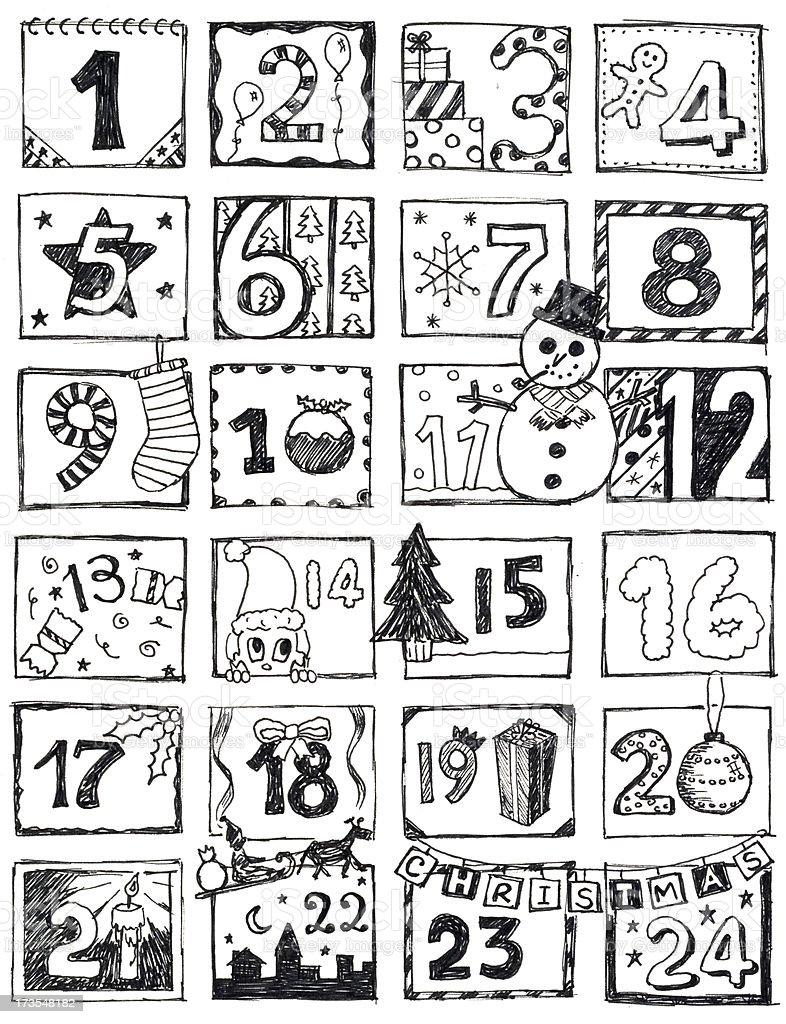 Calendar Illustration List : Advent calendar doodle stock vector art istock