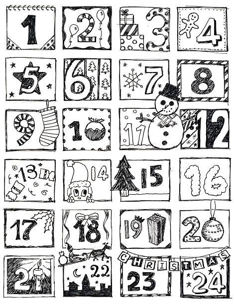 ilustraciones, imágenes clip art, dibujos animados e iconos de stock de calendario navideño garabato - adviento