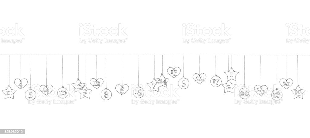 Advent Kalender Anhänger an der Leine hängen – Vektorgrafik