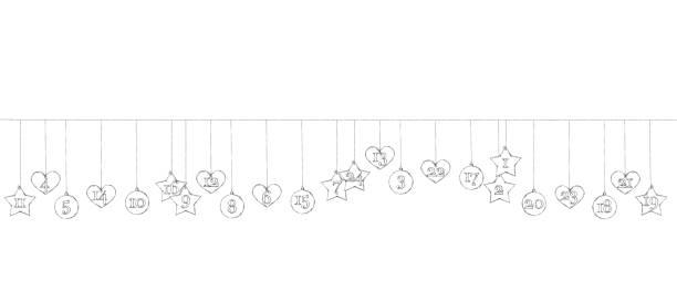 advent kalender anhänger an der leine hängen - adventskalender tür stock-grafiken, -clipart, -cartoons und -symbole