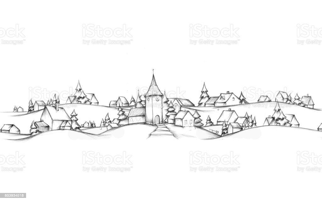 Adventskalender mit Winterlandschaft Dorf – Vektorgrafik