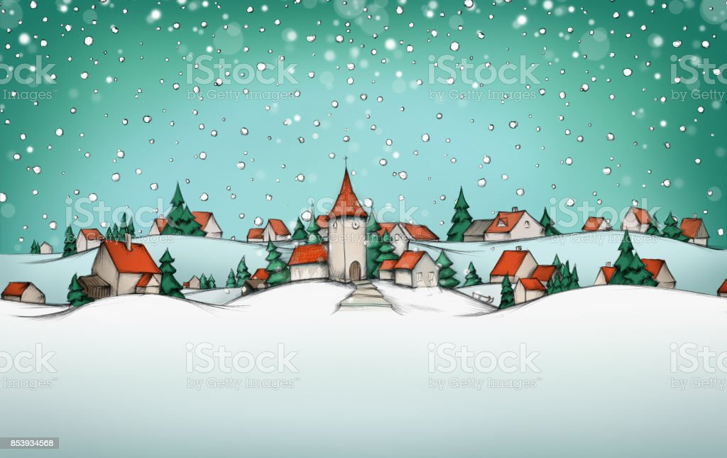 Calendario de Adviento con paisaje de invierno de pueblo - ilustración de arte vectorial