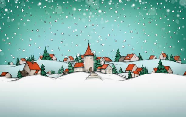ilustraciones, imágenes clip art, dibujos animados e iconos de stock de calendario de adviento con paisaje de invierno de pueblo - adviento