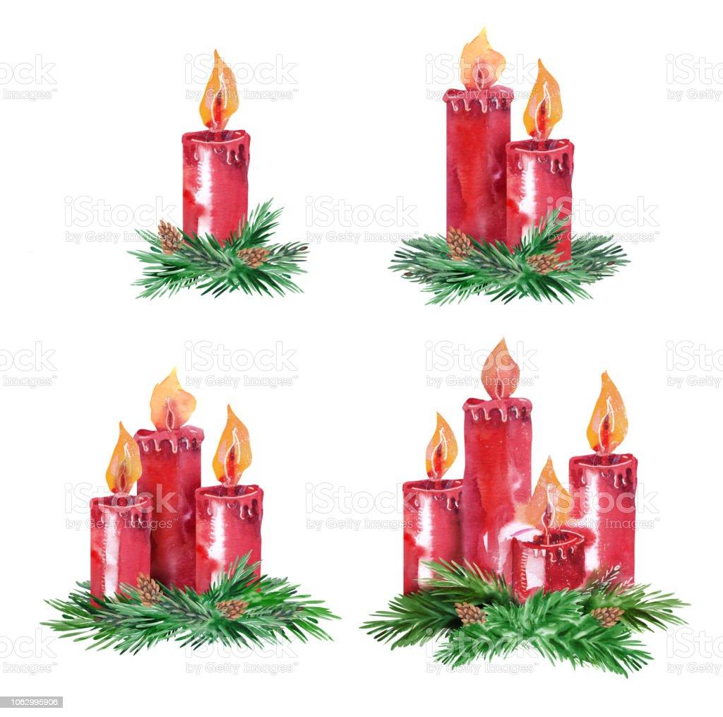 Conjunto de velas de Adviento. - ilustración de arte vectorial