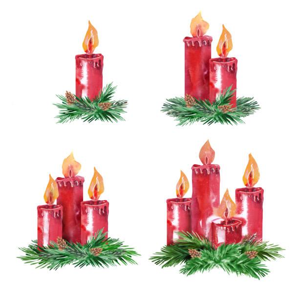 ilustraciones, imágenes clip art, dibujos animados e iconos de stock de conjunto de velas de adviento. - adviento