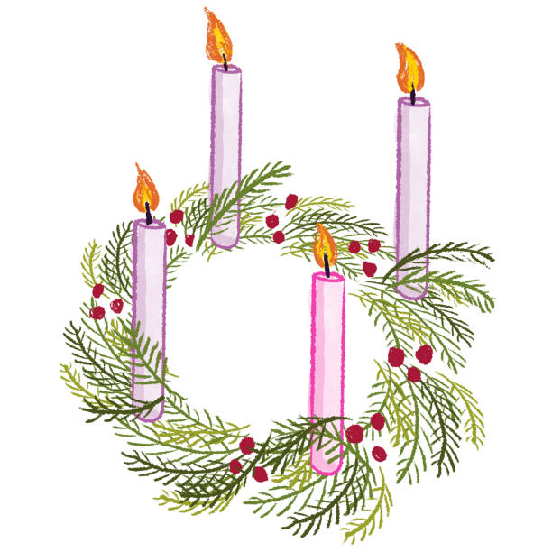 Advent drawing with white background Advent drawing with white background kathrynsk stock illustrations
