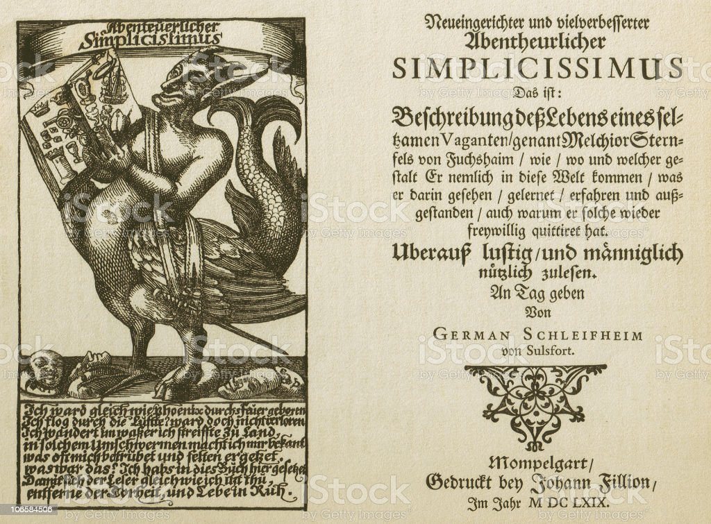 Adventur Simplicissimus Teutsch (1668), facsimile, published in 1879 royalty-free stock vector art