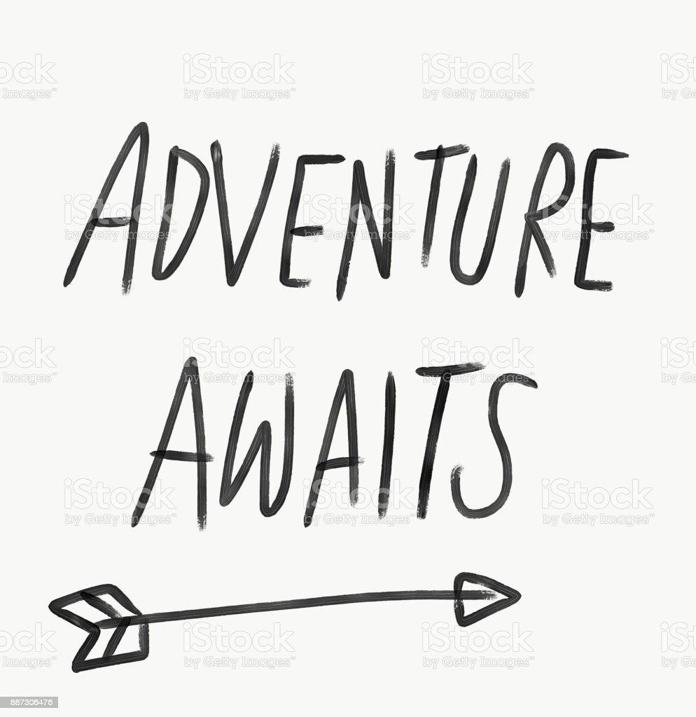Adventure awaits word lettering watercolor illustration vector art illustration