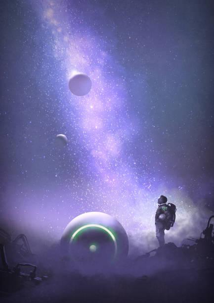 stockillustraties, clipart, cartoons en iconen met avontuur op de verwoeste planeet - ruimte exploratie