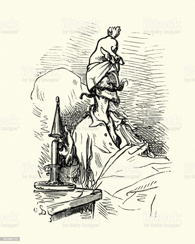 Aventures du Baron de Münchhausen, A très bonne nuit - Illustration vectorielle