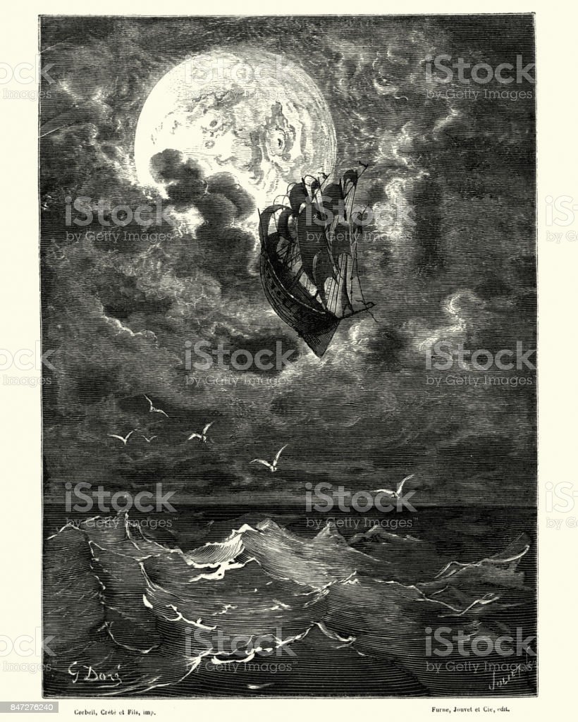 Adventures of Baron Munchausen, visit to the Moon vector art illustration