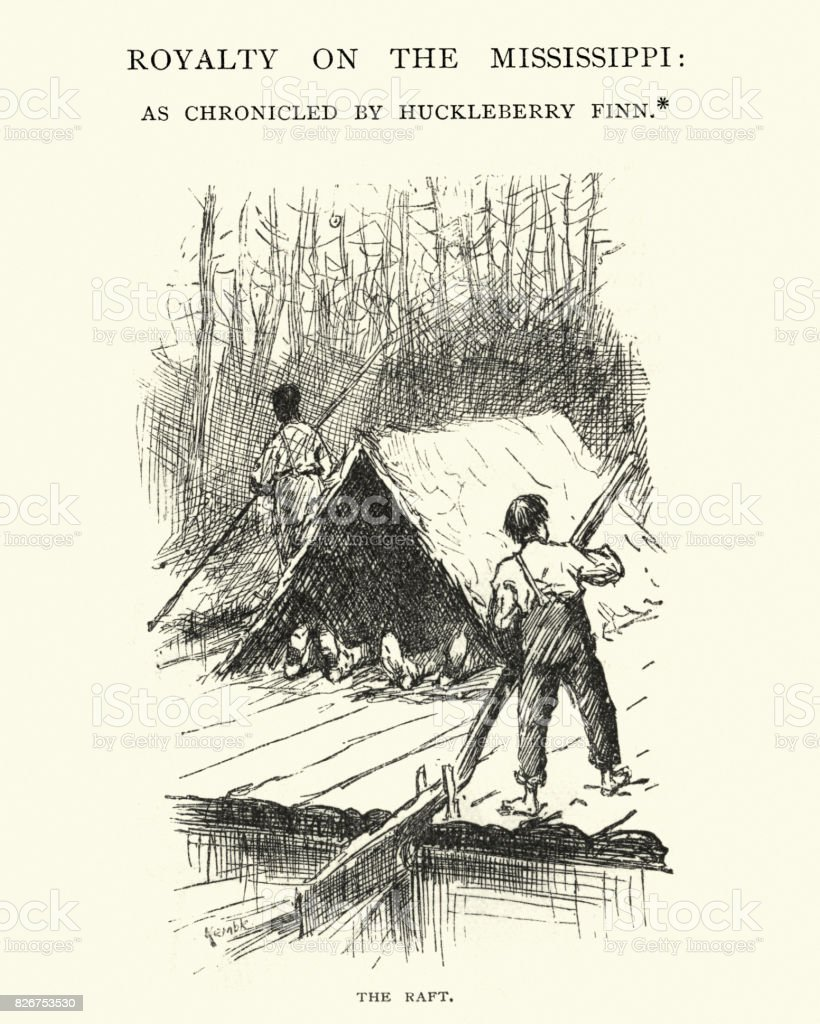 Adventures of Huckleberry Finn, Royalty on the Mississippi, The Raft vector art illustration