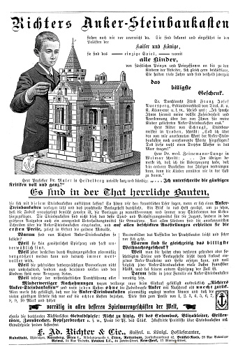 Adversting page in  German magazine 1894 for Richter stone construction kit