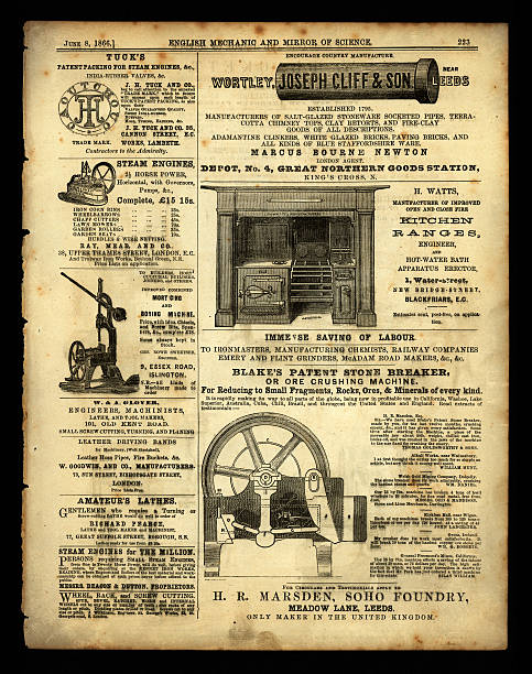 """Advertisements from 'English Mechanic', 1866 """"London, England - February 29, 2012: A scanned image of a page of advertising from 'English Mechanic', 4th May 1866 - advertisements of a mechanic or financial nature from a Victorian newspaper devoted to invention and science."""" brand name stock illustrations"""