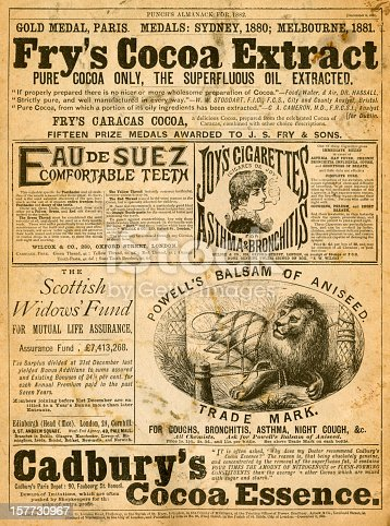 London, England - March 13, 2012: A page of advertisements from Punch's Almanack for 1882. Punch's Almanack was a supplement to 'Punch', published in London, in 1881. 'Punch' was a British magazine newspaper founded in 1841, famous for its humorous and satirical cartoons which were created by some of the foremost illustrators of the day.