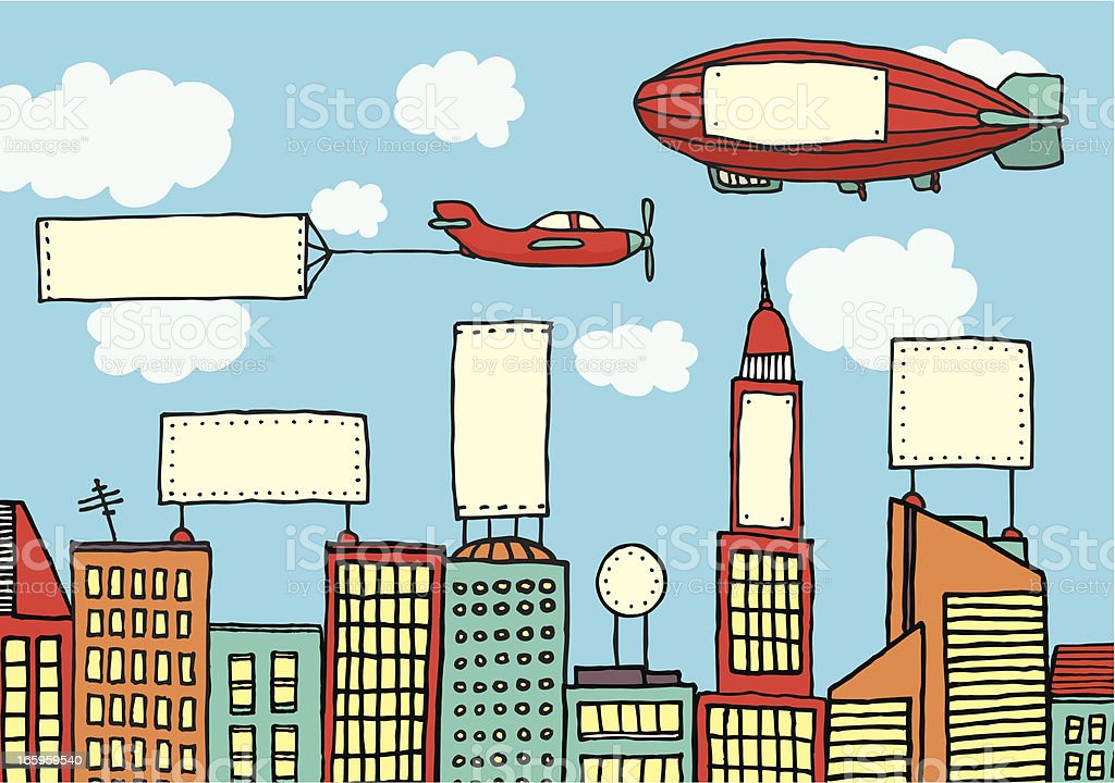Advertising city / Visual contamination royalty-free advertising city visual contamination stock vector art & more images of airplane