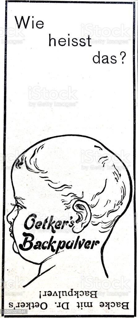 Advertising for baking powder - Oetker vector art illustration