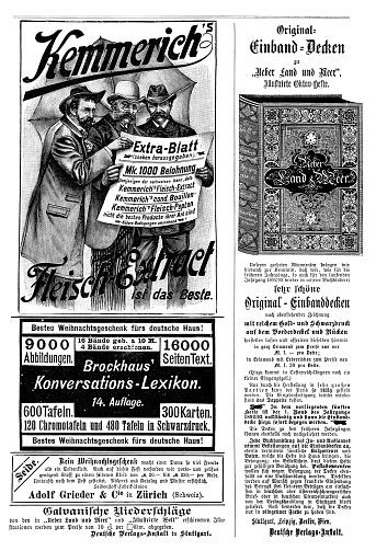 Advertising page in German magazine 1892, including Brockhaus Konversations-Lexikon