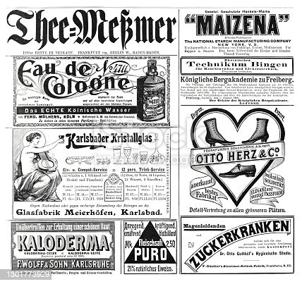 istock Advertising sheet in a German magazine, 1899, including 4711 eau de cologne and Meßmer Tee 1301773929