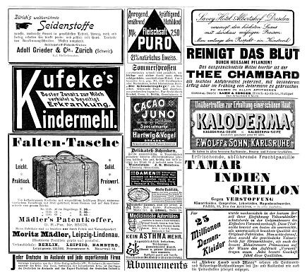 Advertising sheet in German magazine 1899