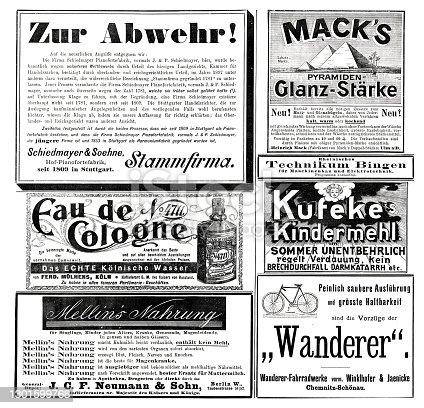 istock Advertising sheet of a German magazine 1899 including 4711 eau de Cologne 1301599768