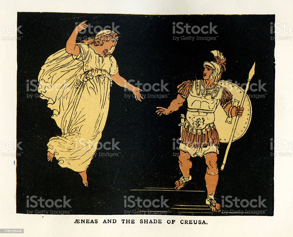 Aeneas and the Shade of Creusa royalty-free stock vector art