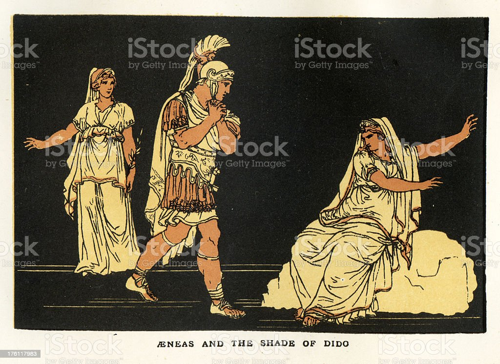 Aeneas and the Shade of Dido royalty-free stock vector art