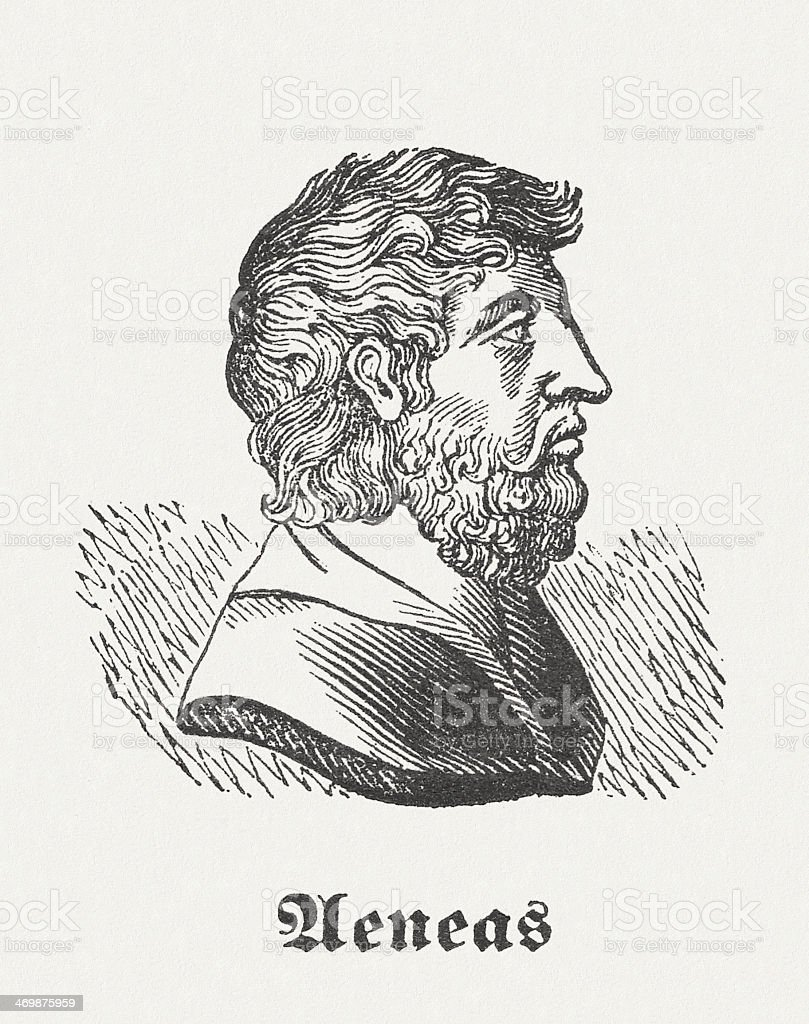 Aeneas, hero from the Greek-Roman mythology, wood engraving, published 1864 royalty-free stock vector art